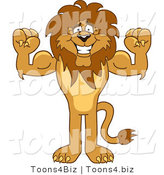 Vector Illustration of a Cartoon Lion Mascot Flexing by Toons4Biz