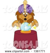 Vector Illustration of a Cartoon Lion Mascot Fortune Teller Looking into a Crystal Ball, Symbolizing Being Proactive by Toons4Biz