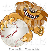 Vector Illustration of a Cartoon Lion Mascot Grabbing a Baseball by Toons4Biz