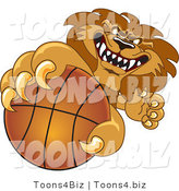 Vector Illustration of a Cartoon Lion Mascot Grabbing a Basketball by Toons4Biz