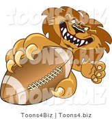 Vector Illustration of a Cartoon Lion Mascot Grabbing a Football by Toons4Biz