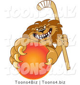 Vector Illustration of a Cartoon Lion Mascot Grabbing a Hockey Ball by Toons4Biz