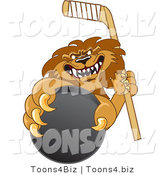 Vector Illustration of a Cartoon Lion Mascot Grabbing a Hockey Puck by Toons4Biz