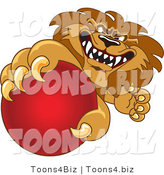 Vector Illustration of a Cartoon Lion Mascot Grabbing a Red Ball by Toons4Biz