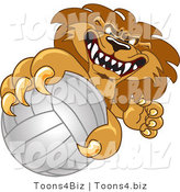 Vector Illustration of a Cartoon Lion Mascot Grabbing a Volleyball by Toons4Biz