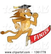 Vector Illustration of a Cartoon Lion Mascot Graduate Running to a Finish Line, Symbolizing Determination by Toons4Biz