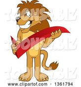 Vector Illustration of a Cartoon Lion Mascot Holding a Check Mark, Symbolizing Acceptance by Toons4Biz