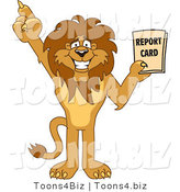Vector Illustration of a Cartoon Lion Mascot Holding a Report Card by Toons4Biz
