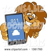 Vector Illustration of a Cartoon Lion Mascot Holding up a Smart Phone and Calling an Emergency Number, Symbolizing Safety by Toons4Biz