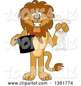 Vector Illustration of a Cartoon Lion Mascot Magician Holding a Rabbit and Hat, Symbolizing Being Resourceful by Toons4Biz