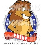Vector Illustration of a Cartoon Lion Mascot on a Pride Badge by Toons4Biz
