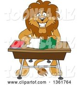 Vector Illustration of a Cartoon Lion Mascot Organizing and Doing Homework, Symbolizing Organization by Toons4Biz