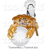 Vector Illustration of a Cartoon Lion Mascot Playing Lacrosse by Toons4Biz