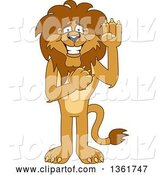 Vector Illustration of a Cartoon Lion Mascot Pledging, Symbolizing Integrity by Toons4Biz