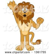 Vector Illustration of a Cartoon Lion Mascot Raising a Hand to Volunteer or Lead, Symbolizing Responsibility by Toons4Biz