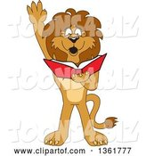 Vector Illustration of a Cartoon Lion Mascot Raising His Hand and Reading a Book, Symbolizing Determination by Toons4Biz