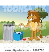 Vector Illustration of a Cartoon Lion Mascot Recycling, Symbolizing Integrity by Toons4Biz