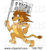 Vector Illustration of a Cartoon Lion Mascot Running with a Team Flag, Symbolizing Pride by Toons4Biz