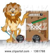 Vector Illustration of a Cartoon Lion Mascot Showing a Toothpaste Dispenser Invention, Symbolizing Being Resourceful by Toons4Biz