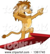 Vector Illustration of a Cartoon Lion Mascot Standing on an Arrow and Pointing, Symbolizing Leadership by Toons4Biz