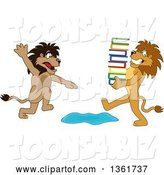Vector Illustration of a Cartoon Lion Mascot Warning Another That Is Carrying Books About a Puddle, Symbolizing Being Proactive by Toons4Biz