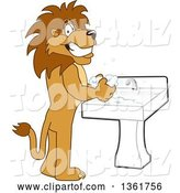 Vector Illustration of a Cartoon Lion Mascot Washing His Hands, Symbolizing Responsibility by Toons4Biz