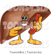 Vector Illustration of a Cartoon Liver Mascot Holding a Phone by Toons4Biz