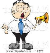 Vector Illustration of a Cartoon Loud White Businessman Nerd Mascot Screaming into a Megaphone by Toons4Biz
