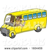 Vector Illustration of a Cartoon Male Viking School Mascot Driving a School Bus by Toons4Biz