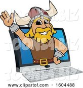 Vector Illustration of a Cartoon Male Viking School Mascot Emerging from a Computer Screen by Toons4Biz