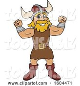 Vector Illustration of a Cartoon Male Viking School Mascot Flexing His Muscles by Toons4Biz