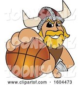 Vector Illustration of a Cartoon Male Viking School Mascot Grabbing a Basketball by Toons4Biz