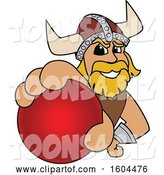 Vector Illustration of a Cartoon Male Viking School Mascot Grabbing a Cricket Ball by Toons4Biz