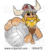 Vector Illustration of a Cartoon Male Viking School Mascot Grabbing a Volleyball by Toons4Biz