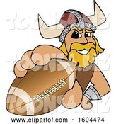Vector Illustration of a Cartoon Male Viking School Mascot Grabbing an American Football by Toons4Biz