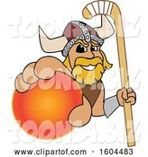 Vector Illustration of a Cartoon Male Viking School Mascot Holding a Hockey Ball and Stick by Toons4Biz