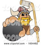 Vector Illustration of a Cartoon Male Viking School Mascot Holding a Hockey Puck and Stick by Toons4Biz