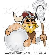Vector Illustration of a Cartoon Male Viking School Mascot Holding a Lacrosse Ball and Stick by Toons4Biz
