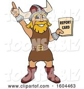 Vector Illustration of a Cartoon Male Viking School Mascot Holding a Report Card by Toons4Biz