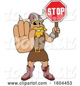 Vector Illustration of a Cartoon Male Viking School Mascot Holding a Stop Sign by Toons4Biz