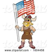 Vector Illustration of a Cartoon Male Viking School Mascot Holding an American Flag by Toons4Biz