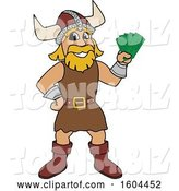 Vector Illustration of a Cartoon Male Viking School Mascot Holding Cash Money by Toons4Biz