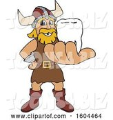 Vector Illustration of a Cartoon Male Viking School Mascot Holding out a Tooth by Toons4Biz