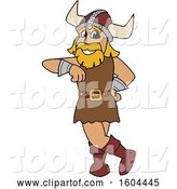Vector Illustration of a Cartoon Male Viking School Mascot Leaning by Toons4Biz
