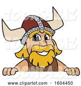 Vector Illustration of a Cartoon Male Viking School Mascot over a Sign by Toons4Biz