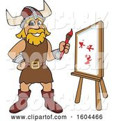 Vector Illustration of a Cartoon Male Viking School Mascot Painting a Canvas by Toons4Biz