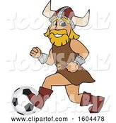 Vector Illustration of a Cartoon Male Viking School Mascot Playing Soccer by Toons4Biz