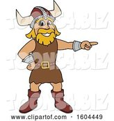 Vector Illustration of a Cartoon Male Viking School Mascot Pointing by Toons4Biz