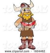 Vector Illustration of a Cartoon Male Viking School Mascot Reading a Book by Toons4Biz