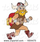 Vector Illustration of a Cartoon Male Viking School Mascot Running with a Backpack by Toons4Biz